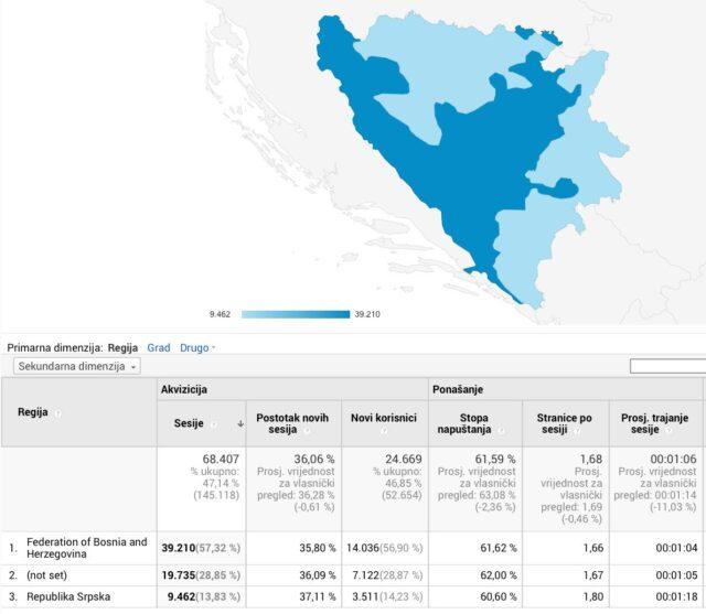 Mapa BiH s označenim entitetima prije 29. maja